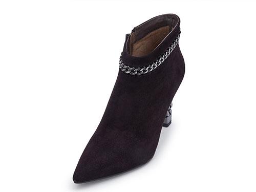 Hongkee红科女靴2019新款尖头高跟侧拉链短靴