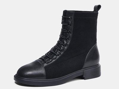 卡美多英伦风帅气马丁靴女低跟加绒女靴