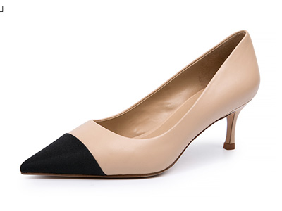 千百度女鞋20春季新品细高跟尖头拼色单鞋
