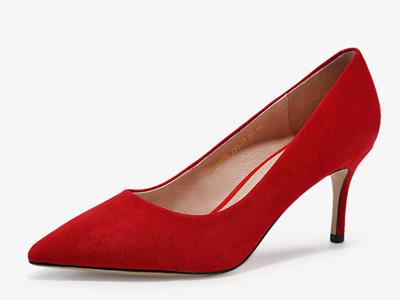 哈森春季新款羊反绒尖头单鞋时尚