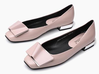 迪朵Diduo2020春新款软面单鞋真皮平跟懒人鞋