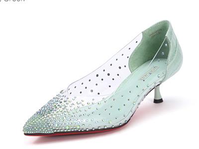 Hongkee红科春季单鞋女中跟胶片水钻尖头浅口鞋