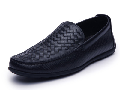 Hongkee红科皮鞋男2020春新款牛皮编织潮内增高