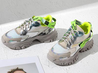 爱米高2020春夏新款牛皮撞色厚底老爹鞋