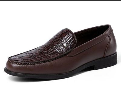 鳄鱼恤商务休闲正装鞋懒人鞋鳄鱼纹皮鞋