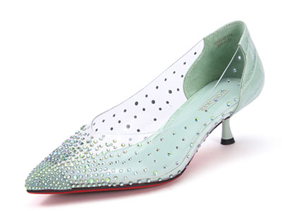 Hongkee红科春季单鞋女中跟水钻尖头浅口鞋