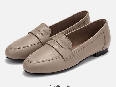 achette雅氏2020春夏新款真皮乐福鞋