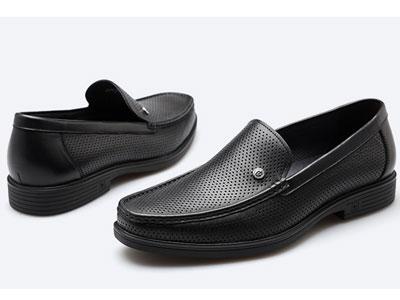 皮尔卡丹夏季新款镂空皮鞋透气牛皮冲孔鞋