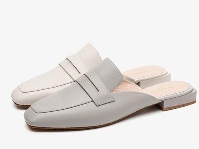 莱尔斯丹2020新款时尚方头拼接后空穆勒鞋
