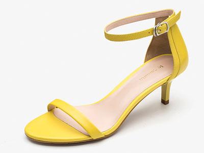 莱尔斯丹-新款一字带细跟中跟绑带高跟鞋