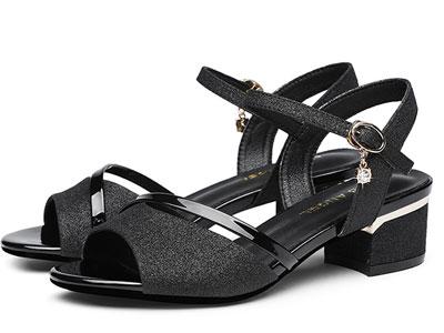 台湾红蜻蜓RD凉鞋女中跟2020新款