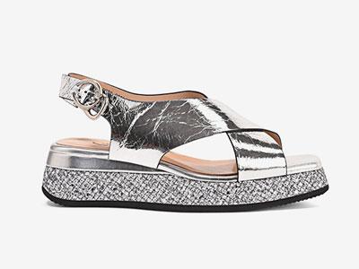 卡美多-凉鞋女方头百搭后空松糕厚底鞋中跟