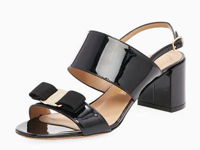 FERRAGAMO菲拉格慕蝴蝶结女士时尚粗高跟凉鞋