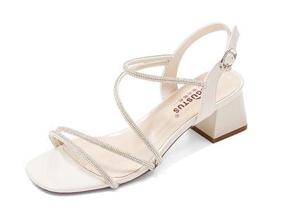 奥古斯都仙女风水钻露趾凉鞋女中跟时尚一字带