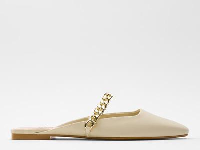 ZARA新款-女鞋-米色链条饰露跟平底鞋