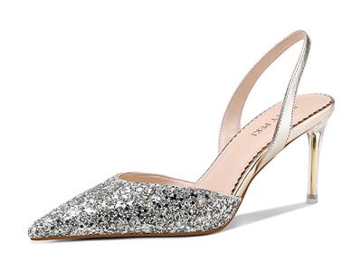 贝蒂佩琪2020年夏季新款金色牛皮尖头浅口高跟鞋