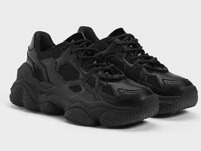 Bershka2020新款黑色老爹鞋运动鞋厚底鞋