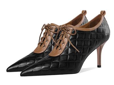 莎丝妮漫2020秋季新款细跟高跟鞋踝靴深口单鞋