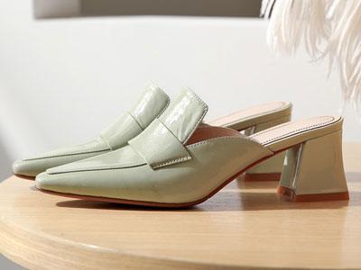 nikbea尼可贝安2020新款高跟女粗跟拖鞋穆勒鞋