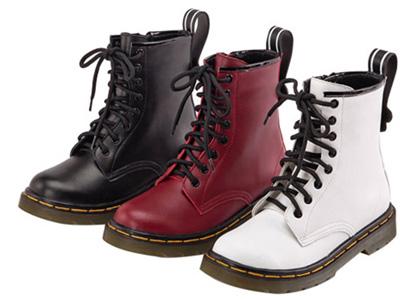 Gracegift马丁靴女可爱圆头系带平底机车靴