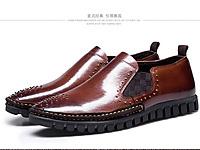 查理男鞋真皮商务休闲男鞋绅士尖头铆钉皮鞋