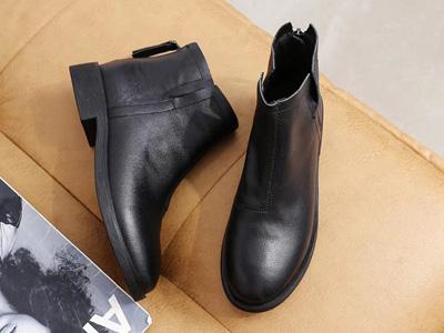 巨康真皮20秋冬小短靴女切尔西靴百搭粗跟马丁靴