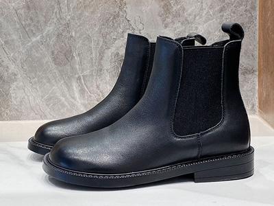 BAFFN芭芬2020秋冬新品真皮短筒圆头一脚蹬靴
