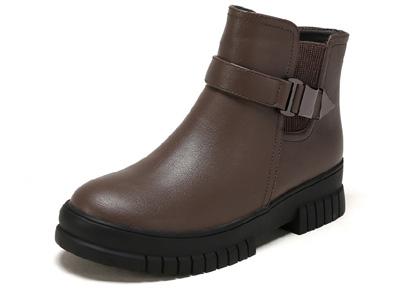 SHOEBOX鞋柜冬季新款圆头舒适平底女短靴