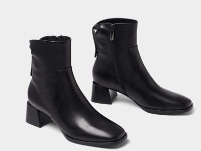 接吻猫2020年冬季新款经典复古圆头短靴