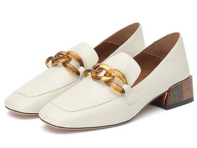 思加图奶油鞋2020秋季新款通勤鞋粗跟乐福鞋