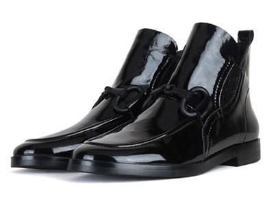 卡斯高ATingYeung联名款2020秋冬新款牛漆皮短靴