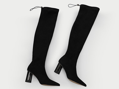 欧罗巴秋冬新款瘦瘦长靴粗跟长筒加绒显瘦弹力靴
