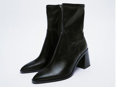 ZARA秋季新品-女鞋-黑色弹力高跟时装短靴