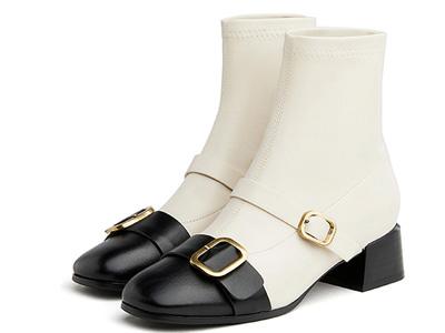 卓诗尼时装靴女2021冬新款圆头厚底套筒增高