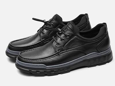 金利来休闲鞋皮鞋耐磨软面真皮黑色男皮鞋