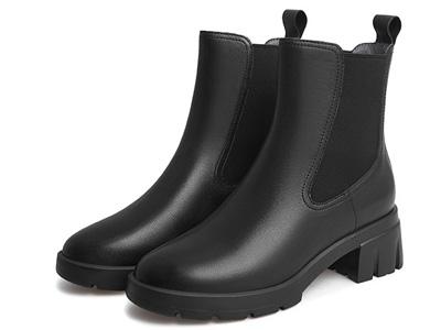 天美意切尔西靴女2021冬新套筒百搭皮短靴