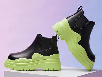 红蜻蜓女鞋2021秋季新款牛油果绿厚底烟筒靴