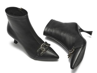 戈美其尖头短靴女2021秋冬新款优雅及踝靴细跟高跟