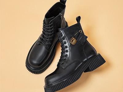 耐真皮马丁靴2021秋冬新款厚底中跟复古英伦短靴