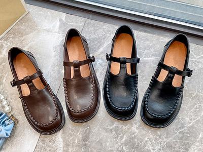 皇妹2021新款春秋一字扣玛丽珍方学生小皮鞋