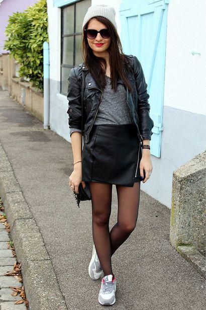 摩登又性感 街拍潮人演绎小皮裙的时髦搭图片