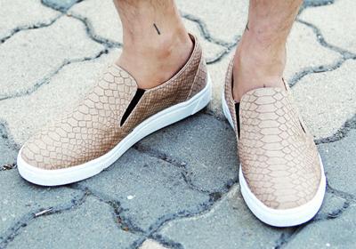 蛇皮纹懒汉鞋