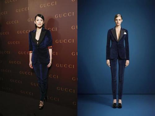 章子怡身着gucci 深蓝色天鹅绒套装亮相现身GUCCI新店开张