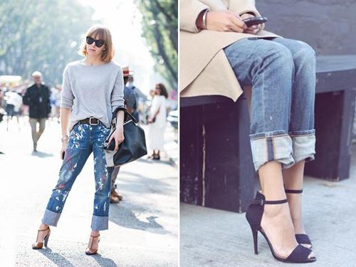 水墨喷溅的牛仔裤搭配轻松的卷边