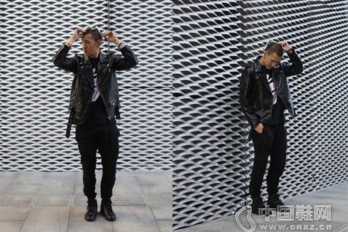 黑色機車皮夾克+黑 TEE +黑色窄腿褲+墨鏡