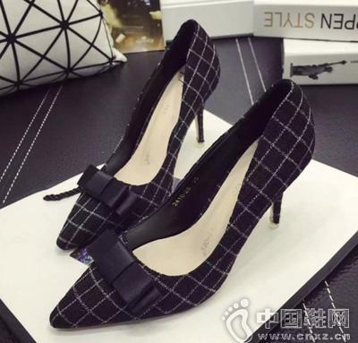 韩版格子布蝴蝶结饰尖头细高跟单鞋