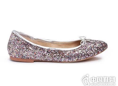 SAM EDELMAN 閃粉真皮蝴蝶結芭蕾平底鞋