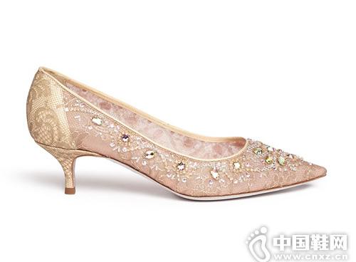 RENÉ CAOVILLA 仿水晶蕾絲尖頭高跟鞋