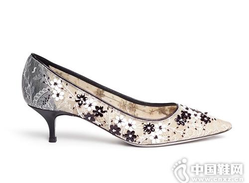 RENÉ CAOVILLA 蕾絲拼真皮貼花高跟鞋