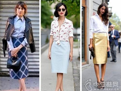 鉛筆裙+襯衫=OL範兒